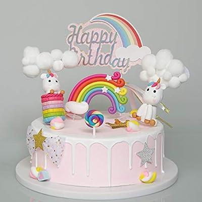 Juego de 5 adornos para tartas con diseño de nube arcoíris y ...