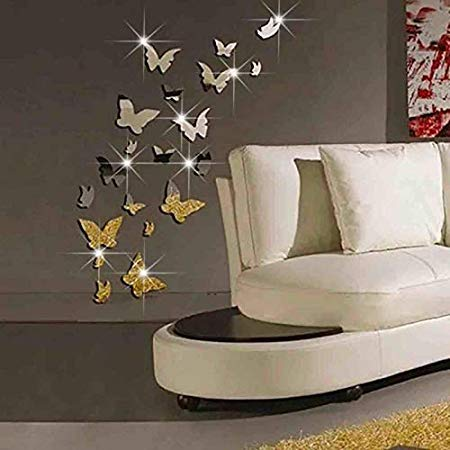 Nattel Wall Stickers - Wall Stickers Decal 3d Butterfly Mirror Sticker Diy Art Gift Kids Room Home Decors Portable Simple - Halloween Cherry Girl Decals Thomas Theme All Palm Cactus -