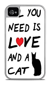 All You Need Is Love and A CAT White 2-in-1 Protective Case with Silicone Insert for Apple iPhone 4 / 4S