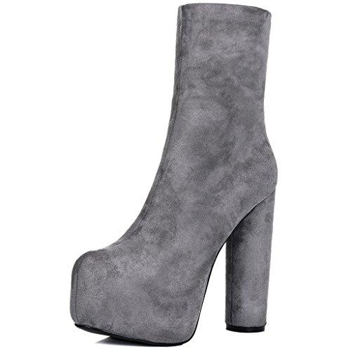 SPYLOVEBUY RUFFLE Mujer Plataforma Tacón Bloque Botes Bajas Zapatos Gris - Gamuza Sintética