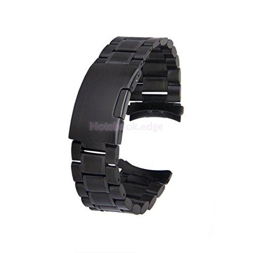 Men's 22mm Black Steel Band Bracelet Watch Strap Curved End Deployment Buckle