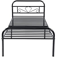 GreenForest Twin Bed Frame Metal Platform Mattress Base Black Bed Vintage Headboard Box Spring Replacement, Twin