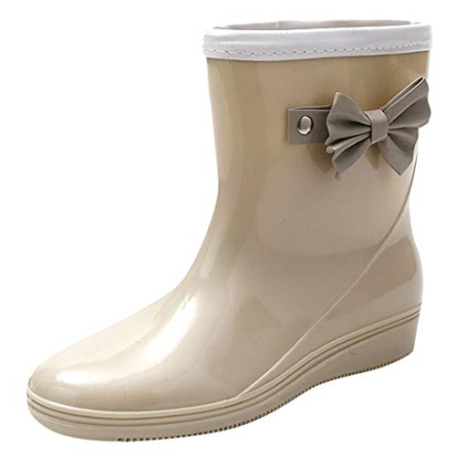 CCFAMILY Womens Fashion Low-Heeled Middle Tube Rain Boots Non-Slip Waterproof Water Shoe Beige