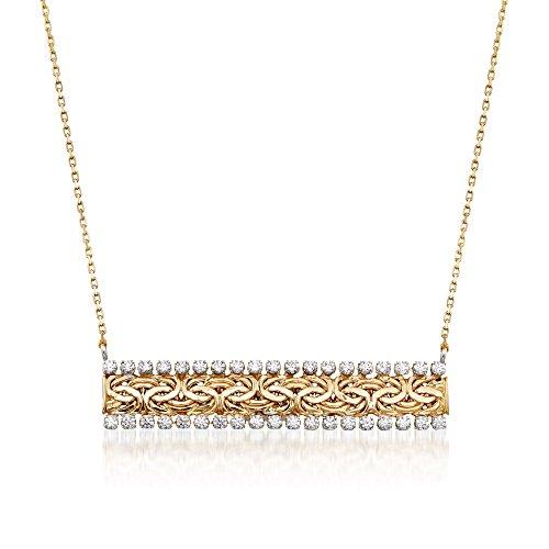 Ross-Simons 0.75 ct. t.w. CZ Byzantine Bar Necklace in 14kt Yellow Gold 14kt Gold Byzantine Necklace
