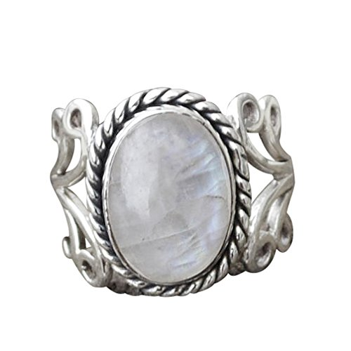 Aquamarine Marquise - Aniywn Best Selling! 1PC Boho Jewelry Silver Natural Gemstone Marquise Moonstone Personalized Ring (7#, Silver)
