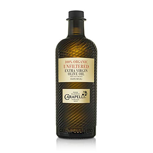 Carapelli - Unfiltered Organic Extra Virgin Olive Oil: First Cold-Pressed EVOO - 33.8 Fluid Ounces (1 Liter)