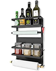 Refrigerator Organizer Rack Multifunction Fridge Magnetic Storage Shelf Roll Paper Towel Holders, Black