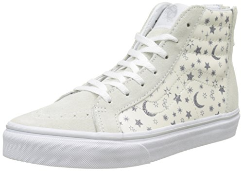 Vans Kids Sk8-Hi Zip (Star Glitter) White Skate Shoe 13.5 Kids US
