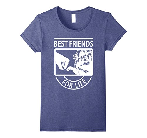 Womens Pekingese Best Friend For Life T-shirt Large Heather Blue