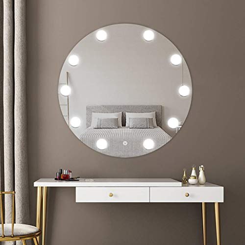 SDK LED Illuminated Bathroom Wall Mirror Contemporary Round Bathroom Mirror In Hollywood Style With Light And Led Lamps, White It Warm Light Round Washroom Toilet Vanity Mirror (Size : 600mm) (600 Vanity Mm)