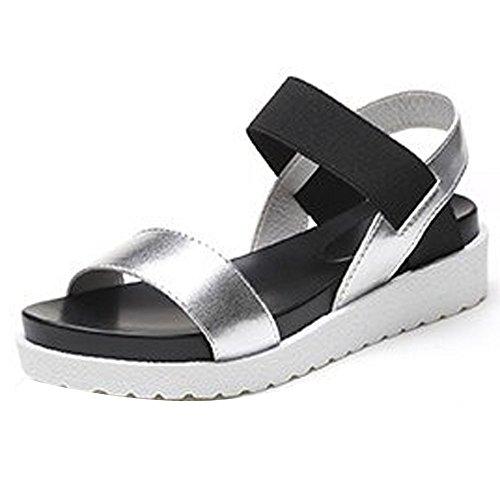 Women Peep Toe Sandals, NDGDA Low Shoes Roman Sandals Ladies Flip Flops Silver