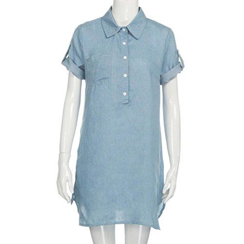 HTHJSCO Women Summer Plus Size Denim Dresses Casual Elegant Cowboy Dresses Jeans Dresses (Blue, M)