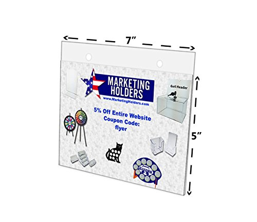 Marketing Holders 7''W x 5''H Clear Acrylic Wall Mount Ad Frame/Sign Holder with Mounting Holes (Lot of 24) by Marketing Holders