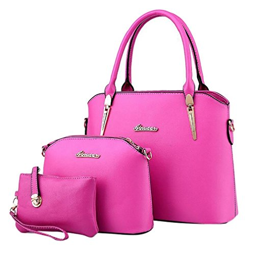 Handbags Elegant Tote Women's Hobo Bags Shoulder Leather Set Bags Rose ADOO tBqxfAt