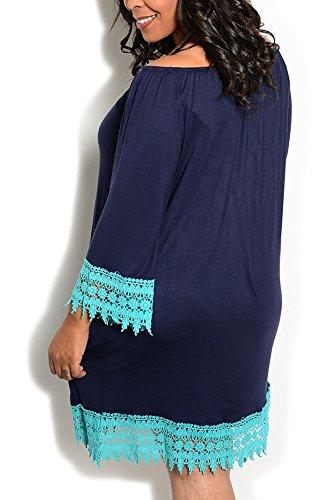 DHStyles Women's Plus Size Crocheted Off The Shoulder Dress-1X - Navy, Aqua