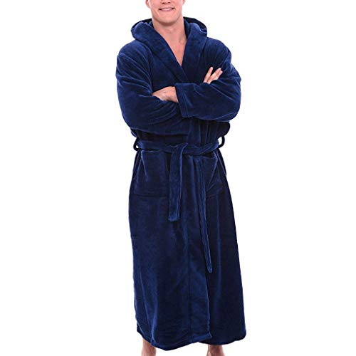 Connia Men's Bathrobe Solid Lengthened Seamless Long Sleeve Plush Shawl with Pocket Home Clothes Robe Coat Blouse (B❤Dark Blue, L) from Connia