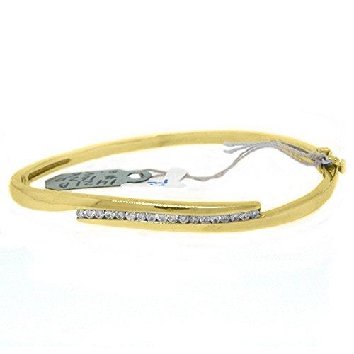 14k Yellow Gold .56 Carat Round Channel Set Diamond Bangle ()