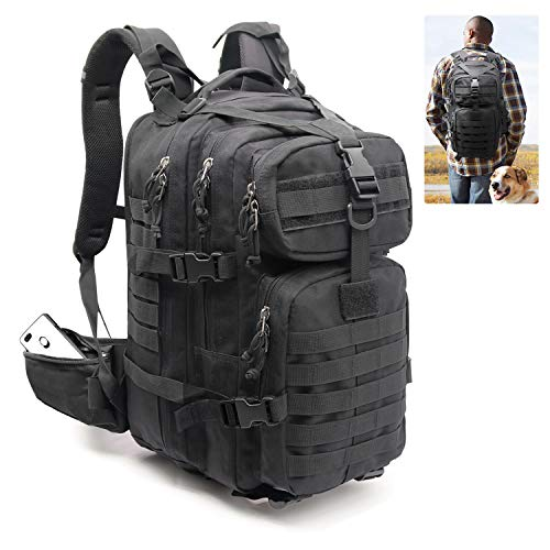 Expandable Military Highland Tactical Backpack 30L Jungle Camo Conceal Carry Laptop 17 Inch, Molle Accessories Bug Army Assault Pack Rucksack Daypack Kit Travel for men women Outdoor Hiking (black) ()
