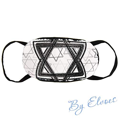 Mouth Masks Dust Face Mask Modern Black Star Of David Scatter Classic Simple Unisex Adjustable Anti Dust Mask Perfect for Cycling Camping Travel, Cotton