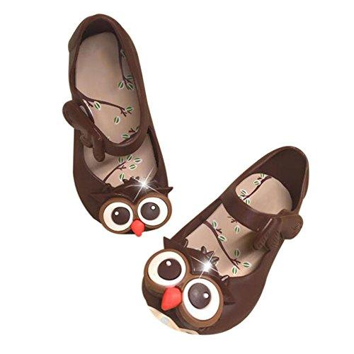 Meijunter Baby Mädchen Jungen Eule Weich Gelee Fisch Mund Anti-Rutsch Lässige Flache Schuhe Kleinkind Kinder Strand Sandalen Regen Stiefel Braun