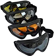 4 Goggles/Lot - Black + Clear + Amber + Yellow Multi Use Motorcycle Riding Snowboard Airsoft Protective Goggle
