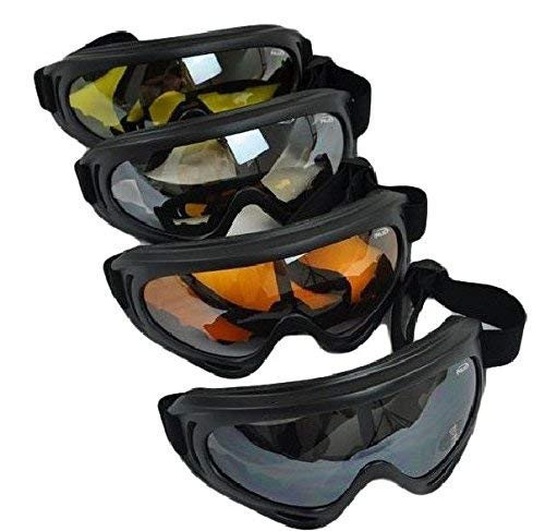 - 4 Goggles / Lot - Black + Clear + Amber + Yellow Multi Use Motorcycle Riding Snowboard Airsoft Protective Goggles Safety Glasses Sport Ski Airsoft Paintball