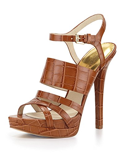 Michael Kors Nadja Platform Womens Walnut Embossed Leather Dress Heels (9 B(M))