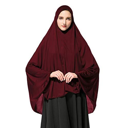 Athli Women's Prayer Khimar Ready to Wear Long Hijab with Under Scarf Islamic Abaya Dress Muslim Woman's Long Dress Wine