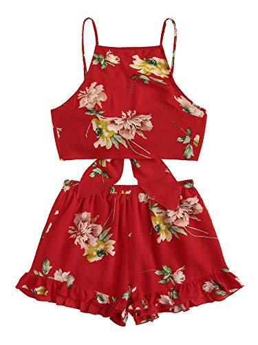 SweatyRocks Women's 2 Piece Boho Floral Print Crop Cami Top with Shorts Set Red Medium