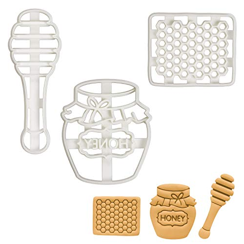 Set of 3 Honey cookie cutters (Designs: Cut Comb, Honey Pot, Honey Dipper), 3 pieces - Bakerlogy