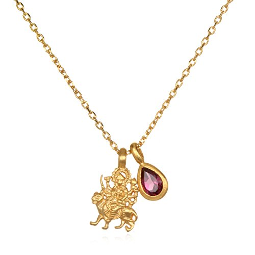 Satya Jewelry Women's Rhodolite Gold Durga Charm Pendant Necklace 18-Inch, Pink, One Size ()