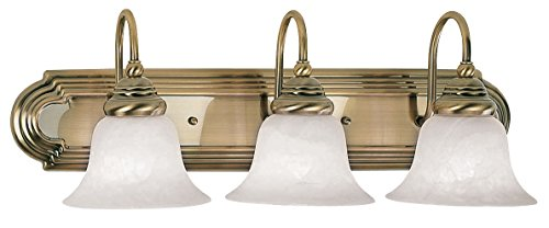 Livex Lighting 1003-01 Bath Vanity with White Alabaster Glass Shades, Antique Brass Brass Alabaster White Glass