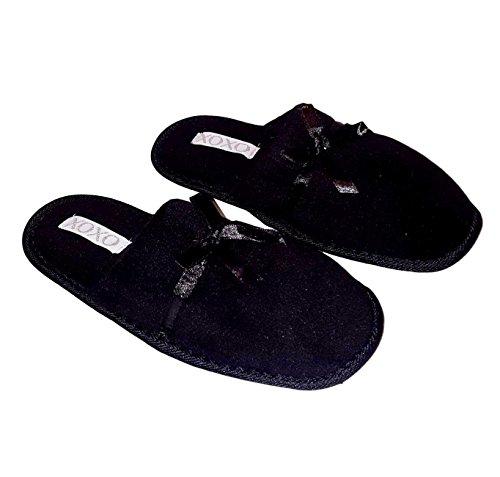Xoxo Soft Badstof Slip Op Slippers Zwart
