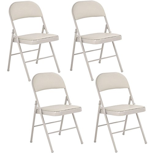 Set of 4 Folding Chairs Steel PU Portable Home Garden Office Furniture Beige New by unbrand