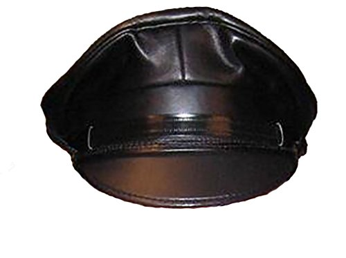 Mr-S-Leather Leather Biker Cap with Matte Black Brim - Hat Size 7 3/8 (23-3/8'' Circumference) by Mr-S-Leather