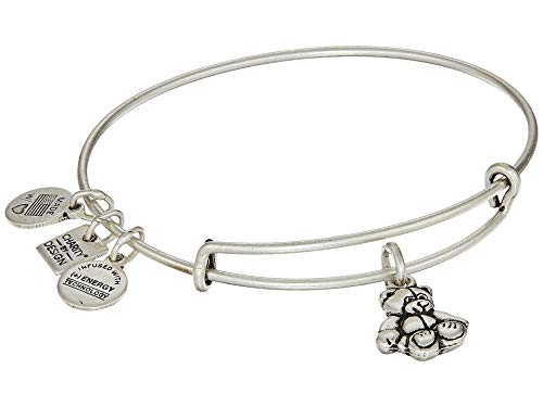 (Alex and Ani Women's Charity by Design Little Brown Bear Expandable Wire Bracelet Rafaelian Silver One Size)