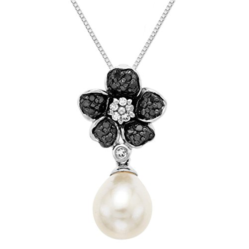Diamond Flower Drop Necklace - 1/5 ct Black & White Diamond Flower Freshwater Cultured Pearl Drop Pendant Necklace in Sterling Silver