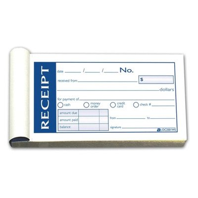 Money/Rent Receipt Bk,Tape Bound,2-Part,2-3/4''x5-3/8'',50/BK [Set of 2]