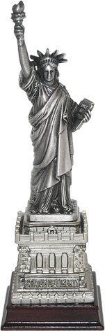 Bronze Replica - CityDreamShop Statue of Liberty 6'' Bronze Replica with carved wooden base