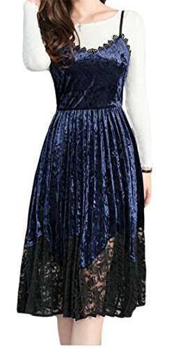 Trim Women Dresses As Sexy Velvet Spaghetti Jaycargogo Strap Swing Picture Lace 4pqYgZpwxA