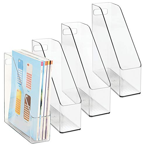 mDesign Plastic File Folder Holders Storage Organizer Set - Vertical with Handle - Holds Notebooks, Binders, Envelopes, Magazines - Home Office and Work Desktops, 4 Pack - Clear -