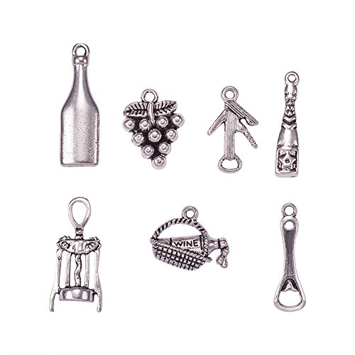 PH PandaHall 35pcs 7 Styles Wine Theme Charms Antique Silver Alloy Pendants Charms for DIY Necklace Bracelet Jewelry Making (Tasting Wine, Grape, Cocktail, Glass Wine Opener) ()