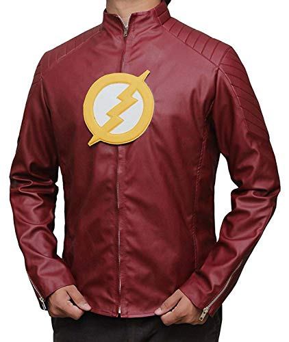 Decrum Halloween The Reverse Flash Costume for Men Leather Jacket | Red Flash, XS