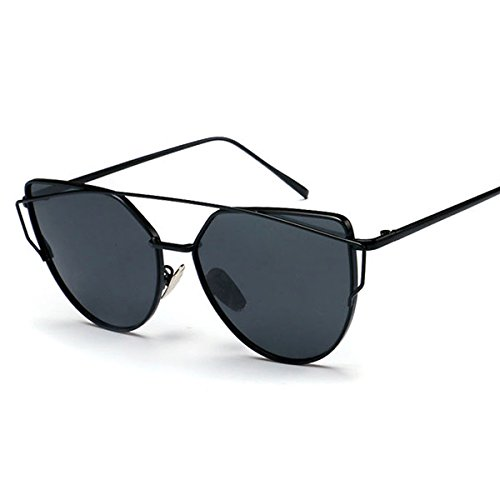 ELITERA Fashion Women Cat Eye Sunglasses Coating Mirror Lens Sun glasses UV400 E7074 (Black&Gray, - Mirror Sunglasses Coating