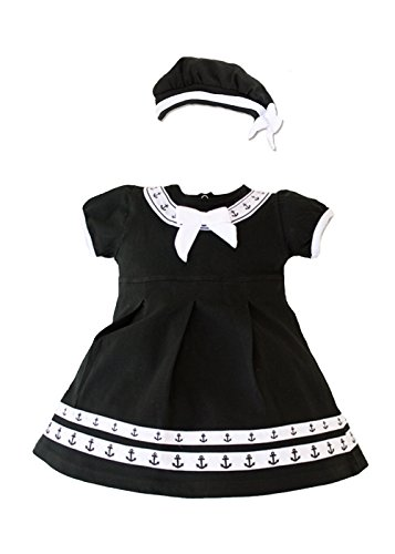 TC Baby Girls Navy Sailor Nautical 2pc Black Anchor Dress with Beret (9-12 mo)