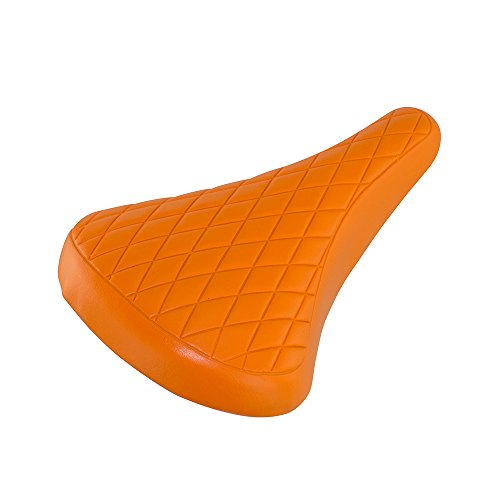 Diamond Pattern Seat - Fenix Cycles Vintage Diamond Pattern Vinyl BMX Bike Saddle, (Orange)