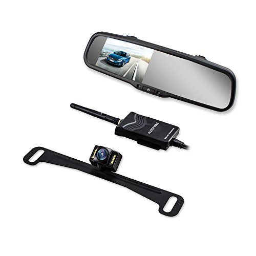 AUTO VOX Wireless Backup Camera Kit with HD Rearview Mirror Monitor and IP 68 Waterproof LED Super Night Vision License Plate Rear View Camera