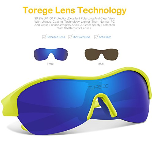 TOREGE Tr90 Flexible Kids Sports Sunglasses Polarized Glasses for Junior Boys Girls Age 3-7 Trk001