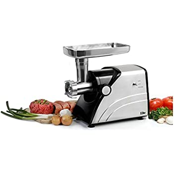 Elite Platinum HA-3433A Maxi-Matic 550 Watt Aluminum-Die-Cast Meat Grinder, Gray (Stainless Steel)