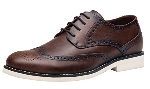Wing Tip Wine - SHENBO Men's Dress Shoes Brogue Wingtip Oxfords (9,red Wine)